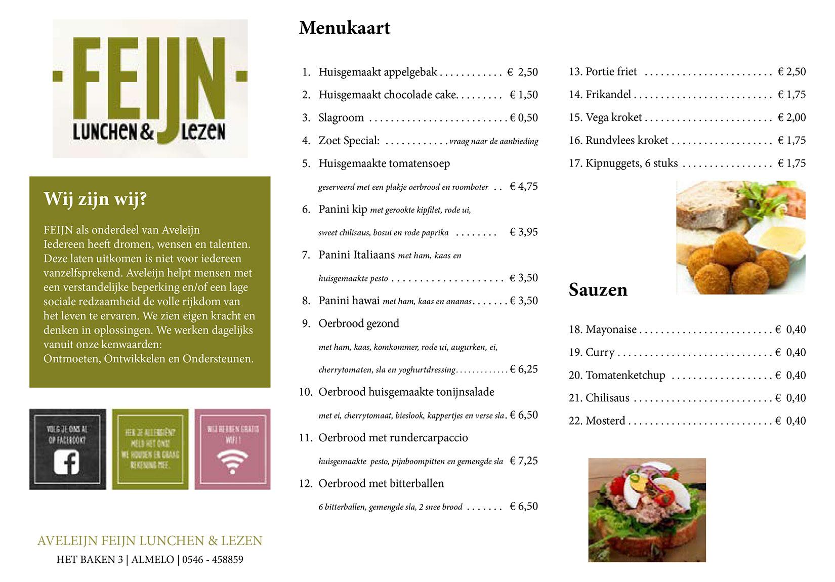 Menukaart Feijn lunchen & lezen
